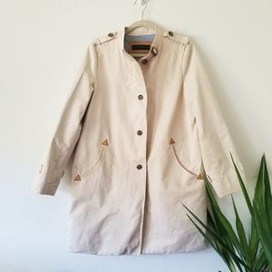 Zara Cotton Button Front Trench Coat L Pocket